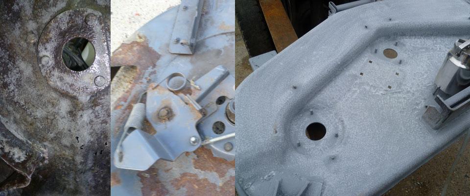 Réparation des plateaux de coupe de tondeuse par sablage Hesdin Abbeville Amiens